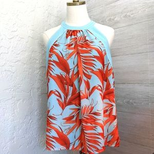 Final price Coral Halter neck tropical blouse